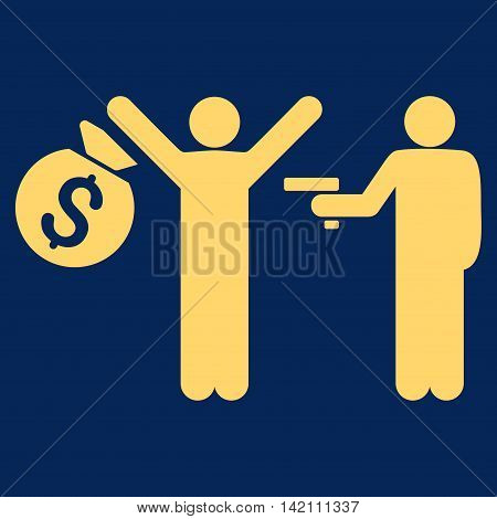Thief Arrest icon. Vector style is flat iconic symbol with rounded angles, yellow color, blue background.
