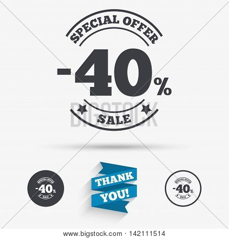 40 percent discount sign icon. Sale symbol. Special offer label. Flat icons. Buttons with icons. Thank you ribbon. Vector