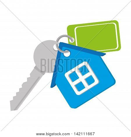 key house home keychain window security property vector graphic isolated and flat illustration