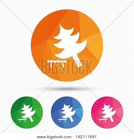 Falling tree sign icon. Caution break down christmas tree symbol. Triangular low poly button with flat icon. Vector