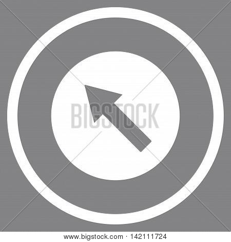 Up-Left Rounded Arrow vector icon. Style is flat rounded iconic symbol, up-left rounded arrow icon is drawn with white color on a gray background.