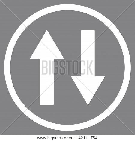 Vertical Flip Arrows vector icon. Style is flat rounded iconic symbol, vertical flip arrows icon is drawn with white color on a gray background.