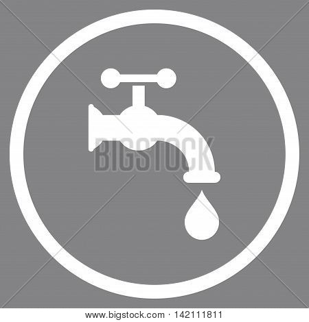Water Tap vector icon. Style is flat rounded iconic symbol, water tap icon is drawn with white color on a gray background.