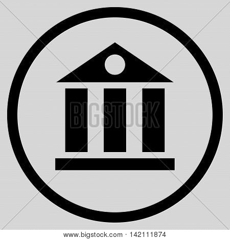 Bank Building vector icon. Style is flat rounded iconic symbol, bank building icon is drawn with black color on a light gray background.
