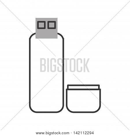 flat design usb flash drive icon vector illustration