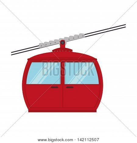 cable railway transport cabine snow winter elevator vector graphic isolated illustration