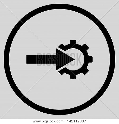 Cog Integration vector icon. Style is flat rounded iconic symbol, cog integration icon is drawn with black color on a light gray background.