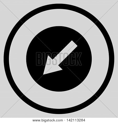 Down-Left Rounded Arrow vector icon. Style is flat rounded iconic symbol, down-left rounded arrow icon is drawn with black color on a light gray background.