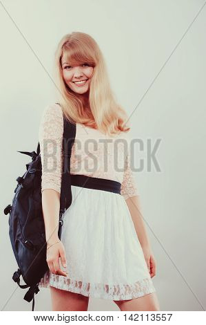 Pretty Woman Girl Student With Backpack.