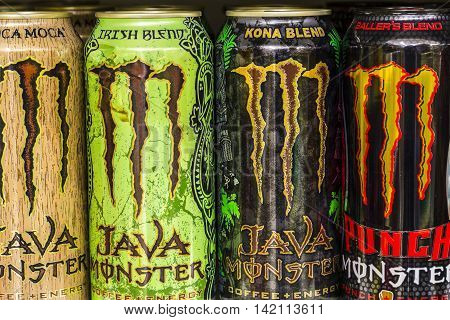 Indianapolis - Circa August 2016: Monster Beverage Display. Monster Corporation manufactures energy drinks including Monster Energy IV