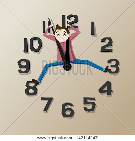 Deadline: man with clock: Time is out