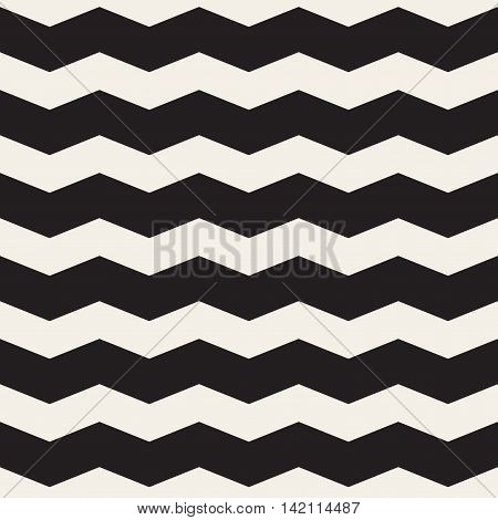 Vector Seamless Black and White Horizontal ZigZag Lines Geometric Pattern. Abstract Geometric Background Design