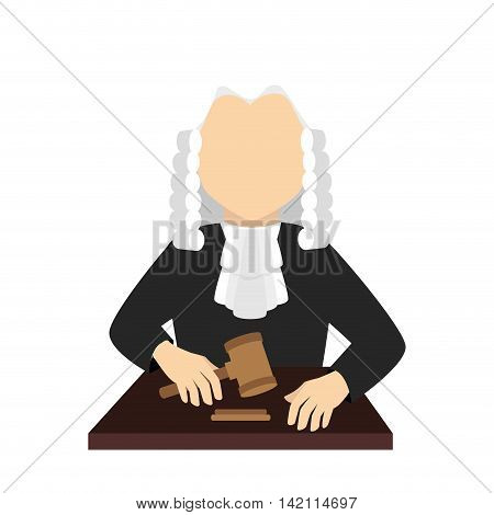 man judge law justice auction court hair  uniform vector graphic isolated and flat illustration