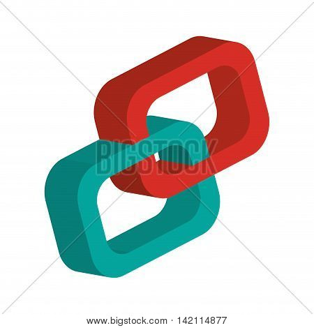 flat design 3d link chain icon vector illustration