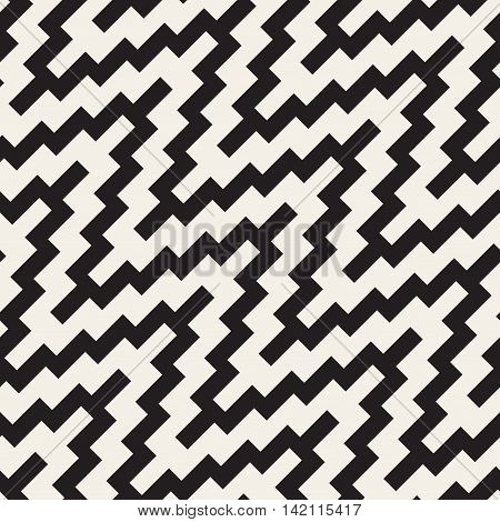 Vector Seamless Black and White ZigZag Rounded Diagonal Lines Geometric Pattern. Abstract Geometric Background Design