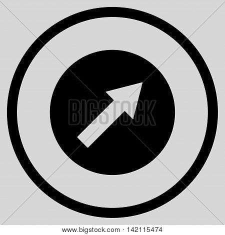 Up-Right Rounded Arrow vector icon. Style is flat rounded iconic symbol, up-right rounded arrow icon is drawn with black color on a light gray background.