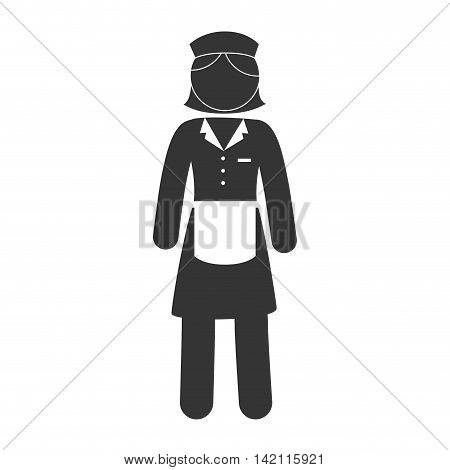 woman female waitress uniform apron service hair hat vector graphic isolated illustration