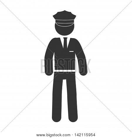 man chauffeur driver hat suit uniform tie male vector graphic isolated illustration