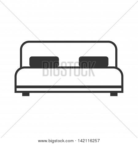 bed double bedtime bedding pillow room furniture vector graphic isolated illustration