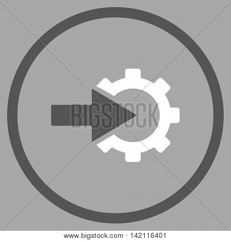 Cog Integration vector icon. Style is bicolor flat rounded iconic symbol, cog integration icon is drawn with dark gray and white colors on a silver background.