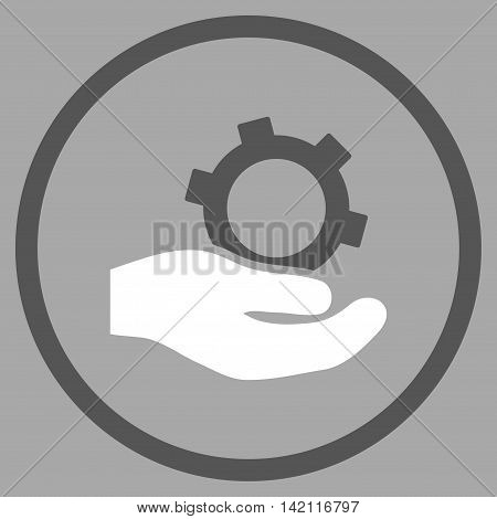 Engineering Service vector icon. Style is bicolor flat rounded iconic symbol, engineering service icon is drawn with dark gray and white colors on a silver background.