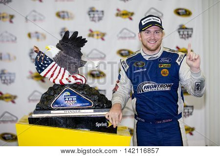 Long Pond, PA - Aug 01, 2016: Chris Buescher (34) wins the Pennsylvania 400 at the Pocono Raceway in Long Pond, PA.