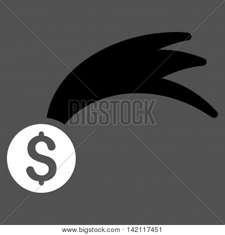 Lucky Money icon. Vector style is bicolor flat iconic symbol with rounded angles, black and white colors, gray background.