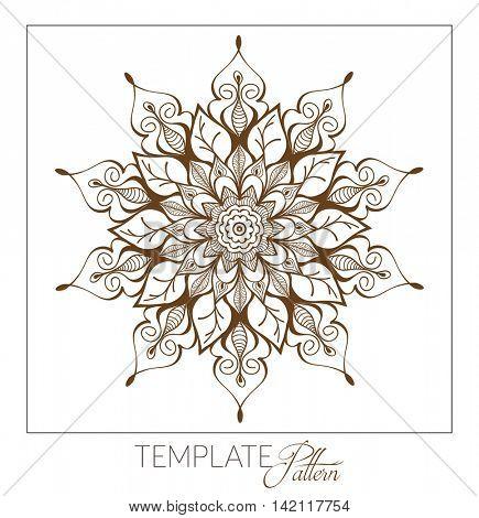 Vector Decorative round ornament. Vintage pattern. Element for design. Monochrome Mandala.