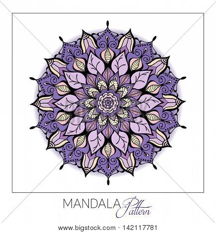 Coloured Mandala. Vector Decorative round ornament. Element for design. Element for a poster of Yoga and meditation.