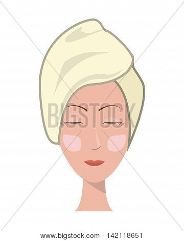 flat design face of woman with towel and cosmetic mask icon vector illustration
