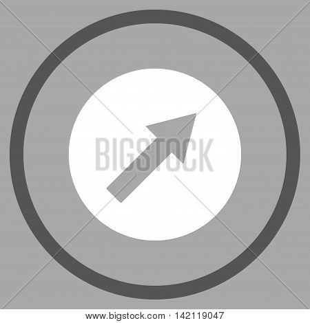 Up-Right Rounded Arrow vector icon. Style is bicolor flat rounded iconic symbol, up-right rounded arrow icon is drawn with dark gray and white colors on a silver background.