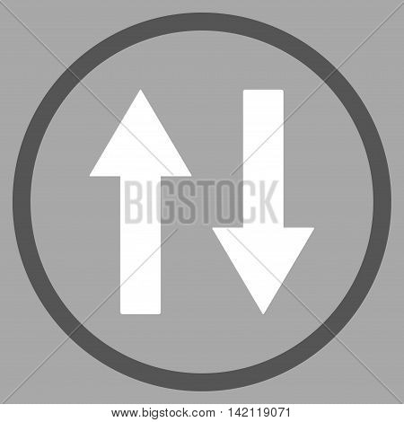 Vertical Flip Arrows vector icon. Style is bicolor flat rounded iconic symbol, vertical flip arrows icon is drawn with dark gray and white colors on a silver background.
