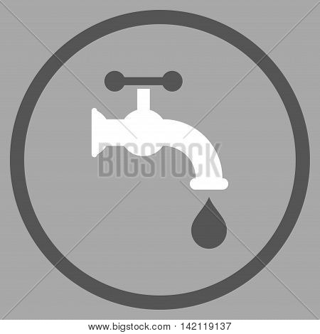 Water Tap vector icon. Style is bicolor flat rounded iconic symbol, water tap icon is drawn with dark gray and white colors on a silver background.