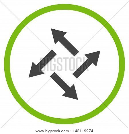 Centrifugal Arrows vector icon. Style is bicolor flat rounded iconic symbol, centrifugal arrows icon is drawn with eco green and gray colors on a white background.