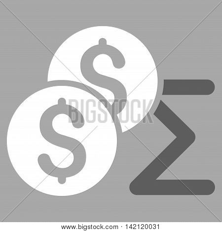 Coin Summary icon. Vector style is bicolor flat iconic symbol with rounded angles, dark gray and white colors, silver background.