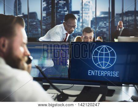 Global Business Enterprise Economics Corporation Concept