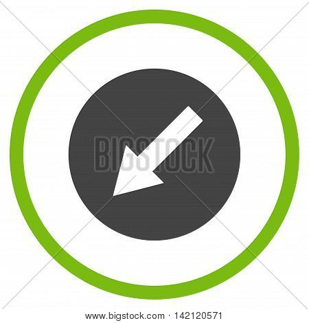 Down-Left Rounded Arrow vector icon. Style is bicolor flat rounded iconic symbol, down-left rounded arrow icon is drawn with eco green and gray colors on a white background.