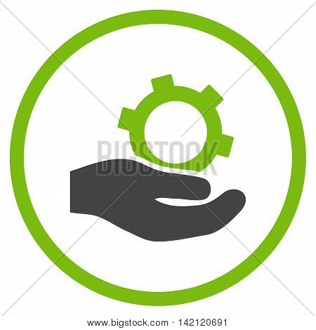 Engineering Service vector icon. Style is bicolor flat rounded iconic symbol, engineering service icon is drawn with eco green and gray colors on a white background.