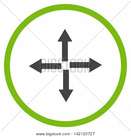 Expand Arrows vector icon. Style is bicolor flat rounded iconic symbol, expand arrows icon is drawn with eco green and gray colors on a white background.
