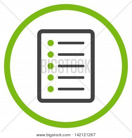 List Page vector icon. Style is bicolor flat rounded iconic symbol, list page icon is drawn with eco green and gray colors on a white background.