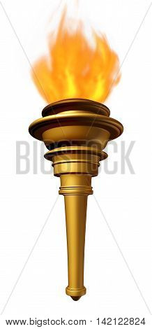 Torch flame symbol as a flaring cresset emblem for sport ceremony or a beacon for triumph and hope as a metaphor for liberty and freedom as a 3D illustration on a white beckground.