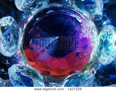 A Crystal Blue Colorful Lotus Close-Up