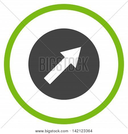 Up-Right Rounded Arrow vector icon. Style is bicolor flat rounded iconic symbol, up-right rounded arrow icon is drawn with eco green and gray colors on a white background.