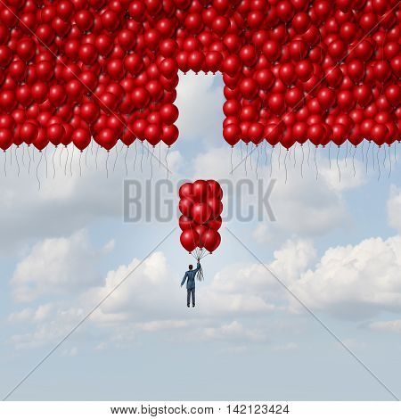 Complete solution business concept as a businessman with a group of balloons as a missing part of a larger organization as a concept for integration and a metaphor for assembly with 3D illustration elements.
