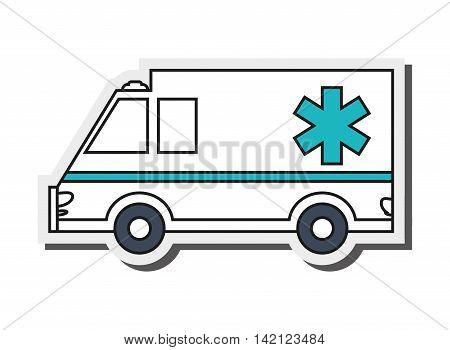 flat design single ambulance icon vector illustration