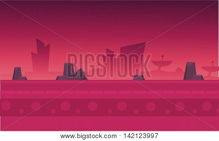 Silhouette of building and rock with fog vector illustration