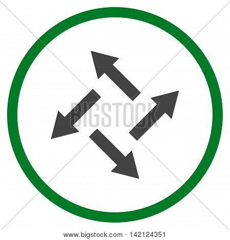 Centrifugal Arrows vector icon. Style is bicolor flat rounded iconic symbol, centrifugal arrows icon is drawn with green and gray colors on a white background.
