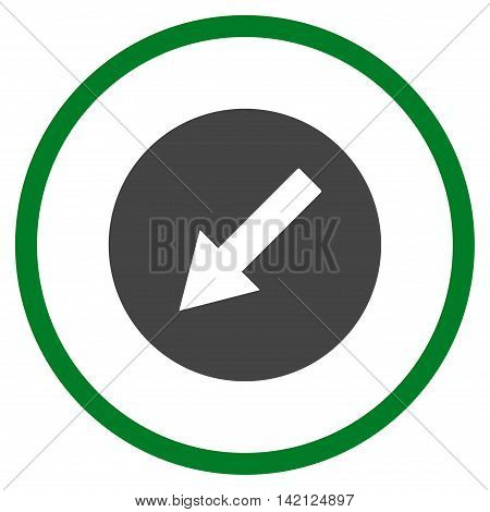 Down-Left Rounded Arrow vector icon. Style is bicolor flat rounded iconic symbol, down-left rounded arrow icon is drawn with green and gray colors on a white background.