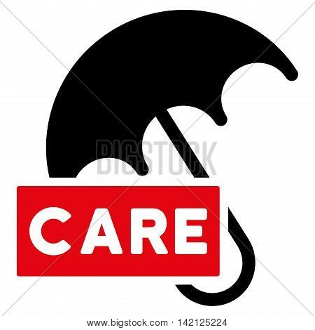 Care Umbrella icon. Vector style is bicolor flat iconic symbol with rounded angles, intensive red and black colors, white background.