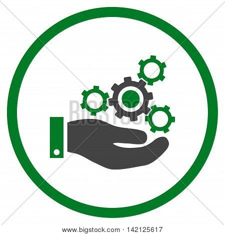 Mechanics Service vector icon. Style is bicolor flat rounded iconic symbol, mechanics service icon is drawn with green and gray colors on a white background.